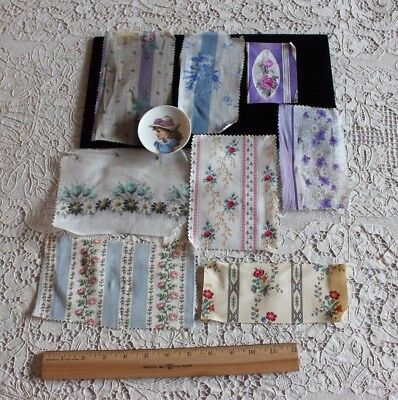 Antique 19thC Floral Cotton & Batiste Samples From French Sample Books~Roses