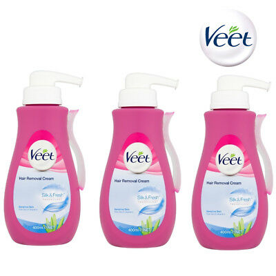 3 x Veet Pump Hair Removal Cream 400ml Sensitive Skin For Legs And Body