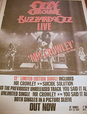 """OZZY OSBOURNE """"Mr. Crowley""""  advert from 1980 full page in red"""