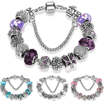 European Rhinestone Vintage Silver Butterfly Charm Bracelet Crystal Beads Bangle