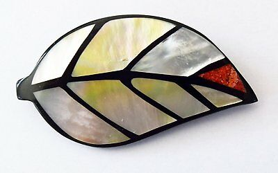 Shell Leaf Brooch - Handcrafted