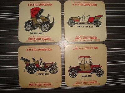 4 old vintage Plastic Car's Theme Coasters from India 1960