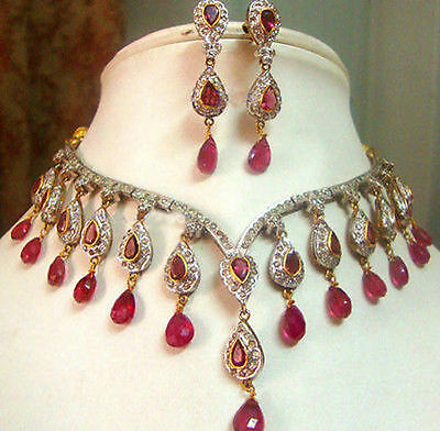 Victorian 14.50Ct Rose Cut Diamond & Ruby Silver Beautiful Necklace Set