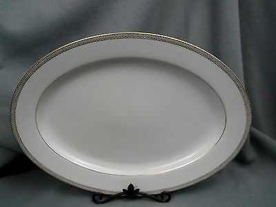 "Fashion Manor China TRADITION Gold Trim 16"" Oval Turkey Meat Platter"