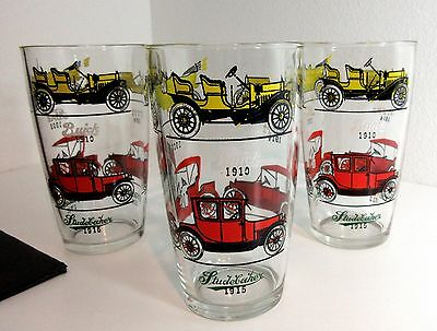 3 Vintage Hazel Atlas 24oz OLD CAR CLUB BEER GLASS Iced Tea BUICK FORD CHEVY