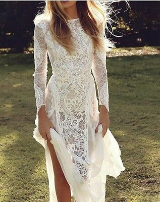 New White/Ivory A Line Lace Wedding Dress V Neck Lace Back with Long Sleeves
