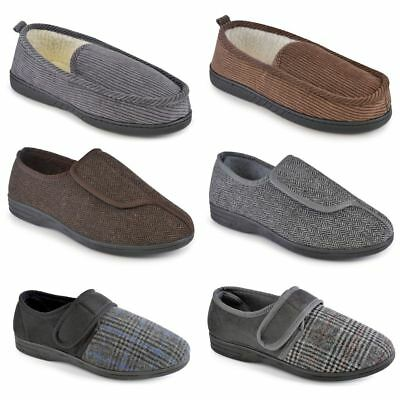 New Mens Moccasin Slippers Indoor Shoes Easy Access Velcro Cord Warm Comfortable