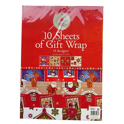 Christmas Large Gift Wrap - 4 Designs - 10 Sheets - Each Sheet 500mm x 700mm