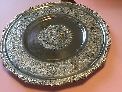 Persian Islamic Isfahan hand crafted heavy 84 solid silver antique plate