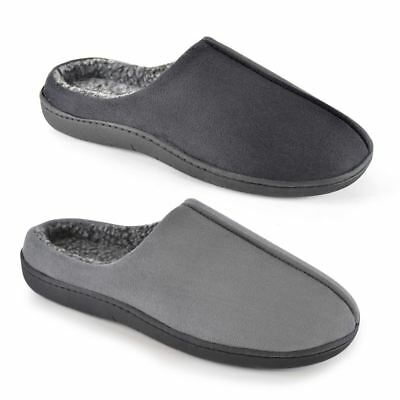 Mens Memory Foam Slippers Mule Indoor Shoes Easy Access Slip On Warm Comfortable