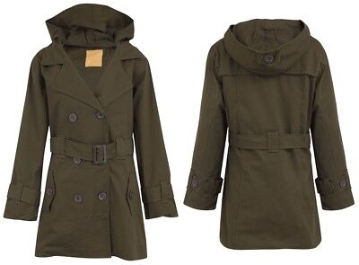 Women Military Parka Hooded jacket Ladies Button Up Belted Khaki Casual Overcoat
