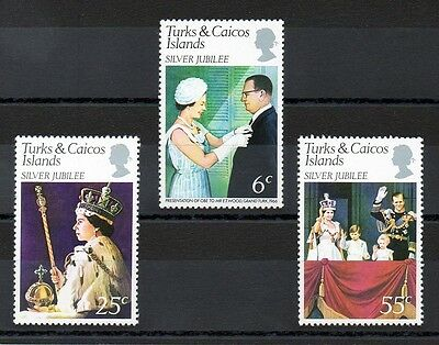 Turks & Caicos Islands 1977 Silver Jubilee MNH set