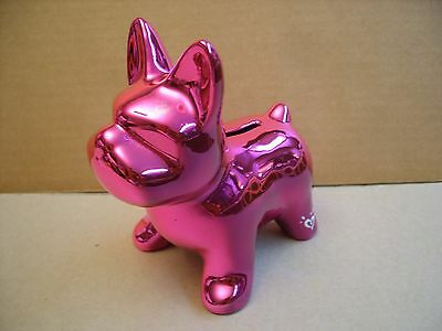 Justice Pink Shiny Metallic Dog Bank -Never Used- 5''