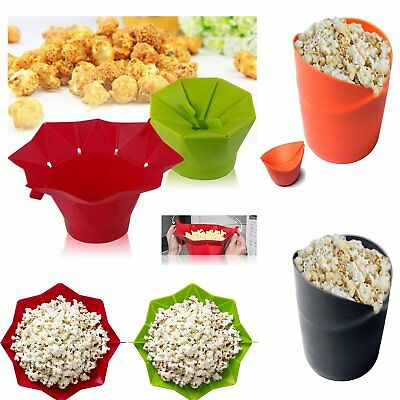 New Popcorn Popper Maker Silicone Microwave Bowl Healthy Container Kitchen DIY