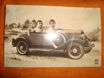 Old Vintage Picture post card of Children In Vintage Car From England 1920