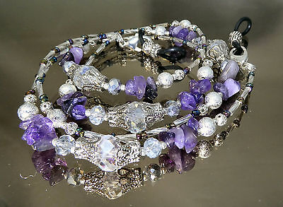 SPECTACLE/GLASSES/EYEWEAR BEADED CHAIN/HOLDER - Silver Amethyst Gemstone (S1800)