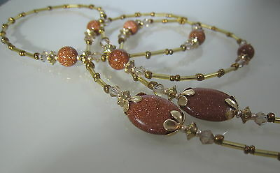 Spectacle Glasses Eyewear Beaded Chain Holder Rose Goldstone Gemstone (S1740)