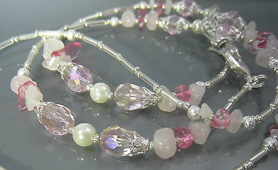 Spectacle Glasses Eyewear Beaded Chain Strawberry & Rose Quartz Gemstone (S1741)