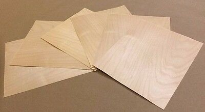 "Birch Wood Veneer, Raw/Unbacked - Pack of 6 9"" x 9"" Sheets (3 sq ft)"