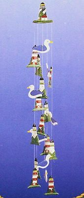 "Lighthouse Seagull Nautical Wind Chime 39"" long NEW IN BOX"
