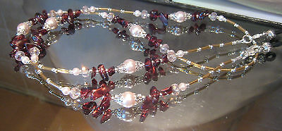 Spectacle Glasses Eyewear Gemstone Chain Garnet Silver Pink Pearl (S146)