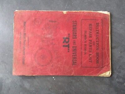 Minneapolis Moline RT Standard/ Universal Tractor Instruction and Repair Parts