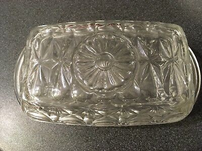 French Reims Pressed Glass Butter Dish