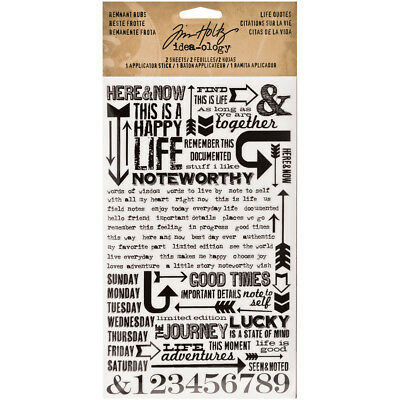 """Idea Ology Remnant Rubs Rub Ons 4.75""""X7.75"""" 2/Pkg Life Quotes TH93120"""