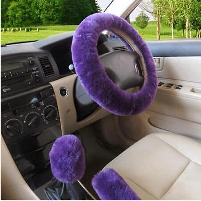 3X Fashion Plush Warm Fur Steering Wheel Cover Woolen Handbrake Car Accessory Z