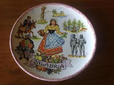 Vtg Souvenir Calabria Italy Plate with famous landmarks marked Corigliano