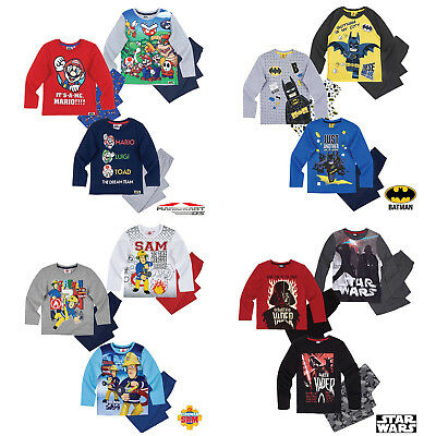 Boys Pyjamas Long Sleeve Super Mario LEGO Batman Age 2-12 Official Cotton New