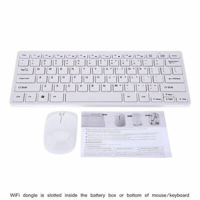 Slim Wireless Keyboard and Cordless Optical Mouse Set for PC Laptop Win7 8 WT UK