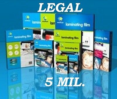 50 Pc LEGAL SIZE  Quality Laminating Laminator Pouches Sheets 9 x 14-1/2  5 Mil