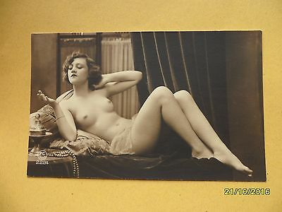 Original French 1910's-1920's Nude Risque Postcard Sexy Lady Lay Down Pose #54