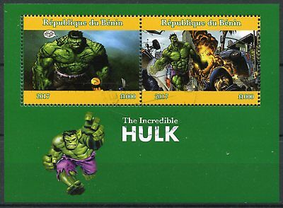 Benin 2017 CTO The Incredible Hulk Marvel Superheroes 2v M/S Comics Stamps