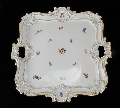 Meissen Germany Hand Painted Porcelain Double Handled Tray, circa 1900