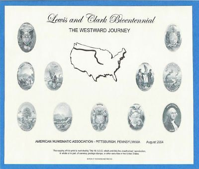 BEP souvenir card B 272 ANA Summer 2004 eleven state seals Lewis and Clark