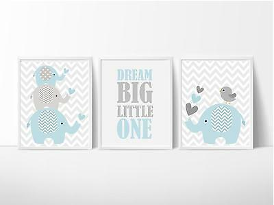 SALE On Now! Nursery Wall Art Print ~ Dream Big Baby Blue Elephants ~ 3 pce set