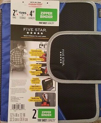 """NEW Five Star Binder Zipper & Velcro 4"""" capacity WITH Padded Strap Black Blue"""