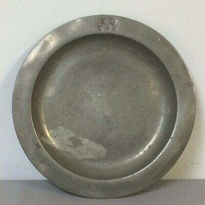"19th Century European or Earlier 9.6"" Pewter Plate"