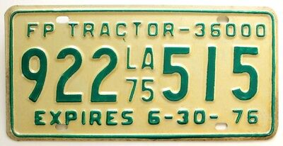 Vintage Unused Louisiana 1975 Forrest Products Semi-Truck Tractor License Plate