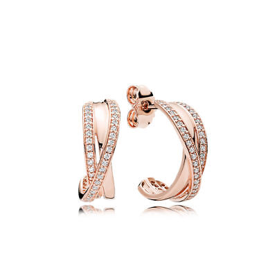 c021d166e ENTWINED Authentic PANDORA Rose GOLD Plated/Zirconia HOOP Earrings 280730CZ