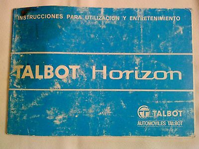 Manual De Instrucciones De Talbot Horizon , Original