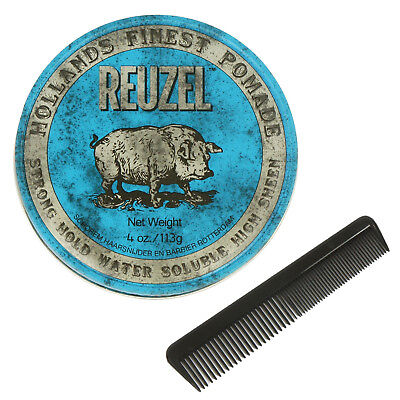REUZEL BLUE Strong Hold Water Based Pomade Made In USA 4Oz 113g Free Comb NEW
