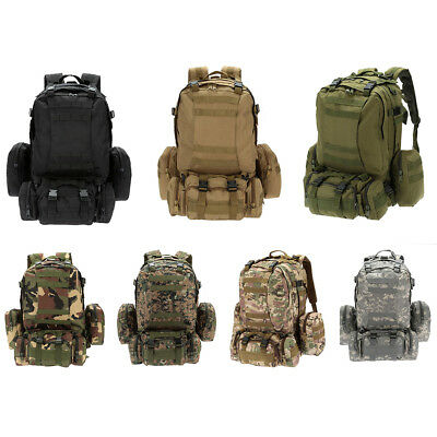 55L Outdoor Army Bag Camping Hiking Trekking Backpack Camo 3P C1R5 Q5C2 T7M W1Q8