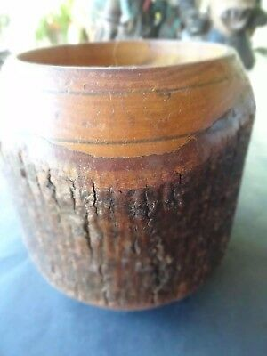 Vintage Turned Round Wood Container with Bark