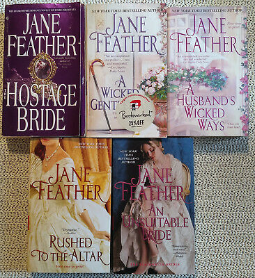 Lot 5 Paperback Romance Novels Jane Feather Hostage Bride Rushed to the Altar