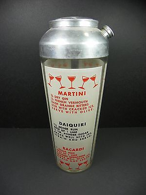 Vintage Hazel Atlas Glass Martini Cocktail Shaker with 9 Drink Recipies