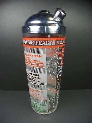 Vintage Hazel Atlas To Your Health Glass Martini Cocktail Shaker Drink Recipies