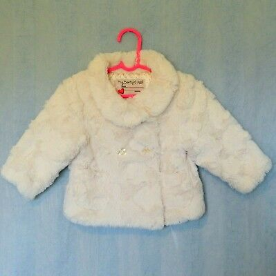 M&S My Beautiful Coat girls baby faux fur winter jacket size 6-9mths / 0 white